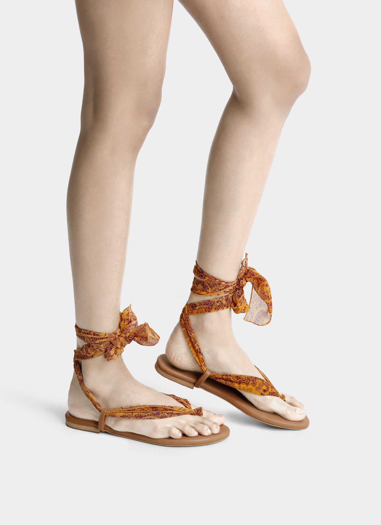 SOOKA STYLE Tie-a-knot Yellow Bloom Sandal Ribbon