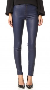 Zip Front Leather Leggings