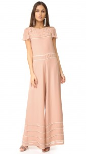 Wide Leg Embroidered Jumpsuit