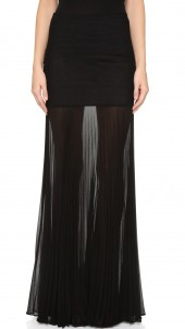 Maxi Skirt with Sheer Pleated Extension