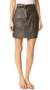 Tumbled Leather Skirt