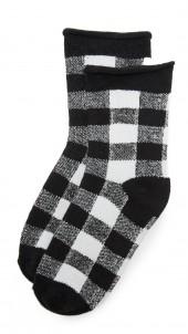 Rolled Fleece Plaid Socks