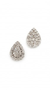 Solid Pave Teardrop Stud Earrings