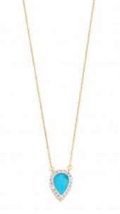 Small Turquoise + Diamond Teardrop Pendant Necklace