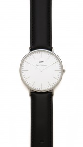 Sheffield 40mm Watch with Black Leather Band