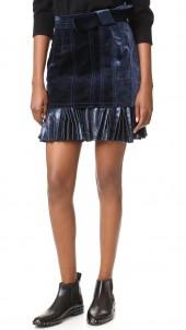 Sculpted Velvet Skirt with Pleated Hem
