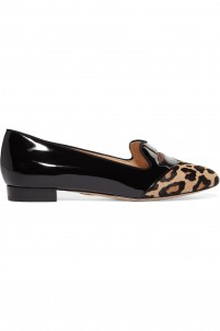 Bisoux patent-leather and leopard-print calf hair flats