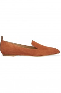 Greta leather-trimmed suede point-toe flats