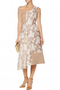 Jackie metallic brocade and wool blend-felt midi dress