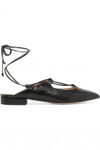 Lace-up leather slippers