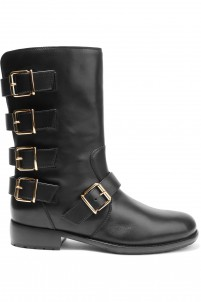 Buckled smooth leather boots