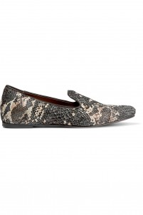 Snake-effect leather slippers