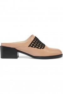 Claridge crochet-trimmed leather slippers
