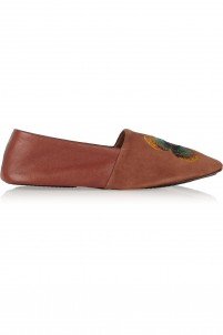 Clash embroidered suede and leather loafers