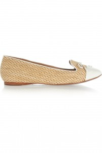 Catherine patent leather-trimmed raffia slippers