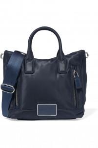 Leather-trimmed shell shoulder bag