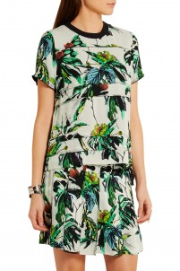 Drop-waist printed silk-crepe mini dress