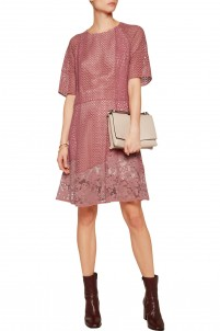 Guipure lace-paneled broderie anglaise cotton dress