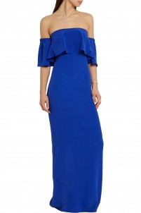 Oria off-the-shoulder silk crepe de chine maxi dress