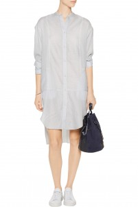 Manon striped silk and cotton-blend shirt dress