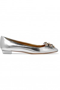 Aurora embellished metallic leather ballet flats