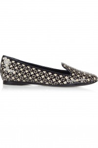 Maura laser-cut patent-leather and canvas loafers