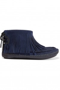 Collins shearling-lined fringed suede boots