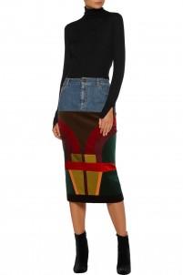 Patchwork velvet and satin-paneled denim midi skirt