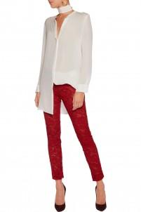 Cotton-blend lace slim-leg pants