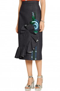 Ruffled embroidered denim midi skirt