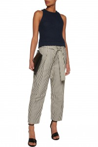 Striped canvas tapered pants