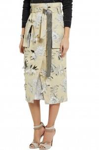 Floral-print cotton and linen-blend skirt
