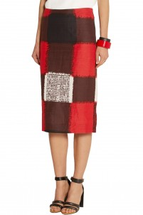 Printed crepe pencil skirt