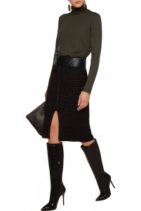 Leather-trimmed crocheted silk skirt