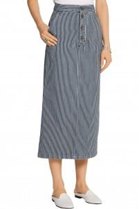 Malo striped denim midi skirt