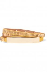 Blossom crystal-embellished suede belt