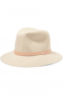 Faux leather-trimmed wool-felt fedora