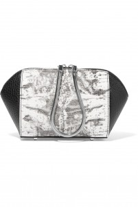 Chastity lizard-effect and textured-leather cosmetics case