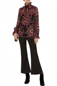 Ruffled embroidered tulle top