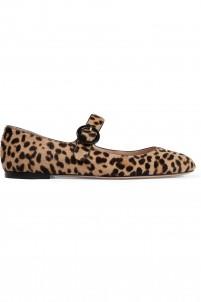 Leopard-print calf hair ballet flats