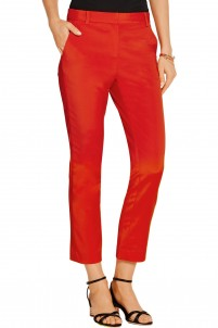 Cropped stretch-faille tapered pants