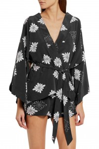 Elias printed washed-silk robe