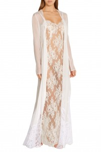 Matrimonio All'Italiana lace-paneled silk-georgette robe
