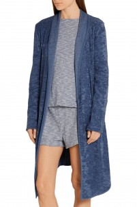 Asymmetric cotton-blend terry robe