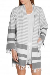 Tasseled striped cotton robe