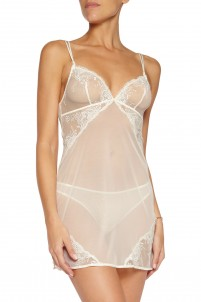 Primula lace-trimmed stretch-tulle chemise