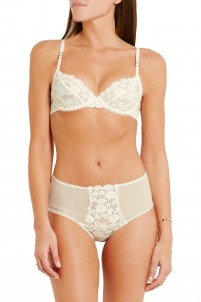 Elsa Endearing lace-paneled stretch-mesh briefs
