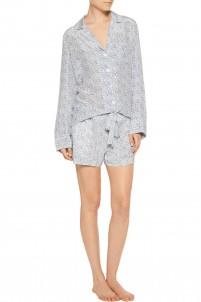 Lilian floral-print washed-silk pajama set