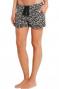 Lilian heart-print washed-silk pajama shorts