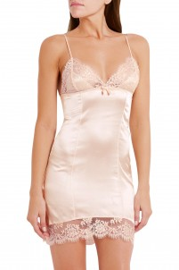 Abbey lace-trimmed stretch-silk satin slip